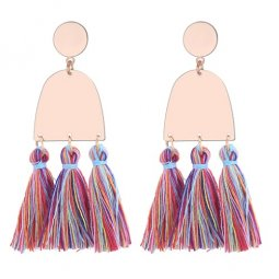P130123 Colourful Gold Geometry Tassel Boho Earstuds