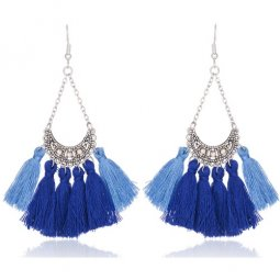 A-KJ-E020275blue Blue Moon Shiny Crystals Tassel Earrings