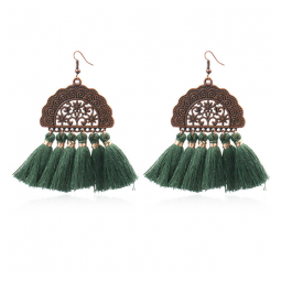 A-HH-HQEF1028green Green Tassel Artsy Copper Carving Earrings
