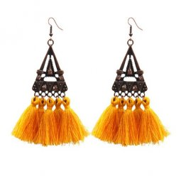 A-hh-HQEF1023yellow Yellow Tassels Triangle Vintage Hook Earring