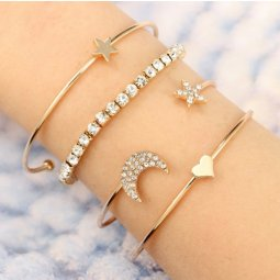 A-YG- sku5802 Moon Star Shiny Charm Korean Style Bangle Shop