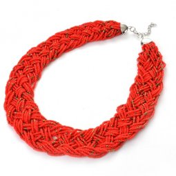 A-Q-Q9007 Red beadds bohemian tribal choker necklace malaysia