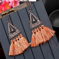 A-HH-HQEF1023orangebrown Orange Brown Tassels Triangle Vintage