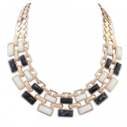 P109867 Black White Layer Elegance Dinner Choker Necklace