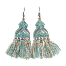 A-HH-HQEF109 Mint Green Brown Tassel Hippy Style Hook Earrings