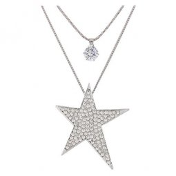 C090621132 Silver Crystals Star 2 Layers Long Necklace