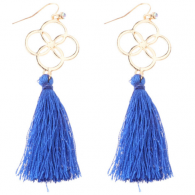 A-DW-HQE647blue Flower Dangling Blue Tassel Hook Earrings