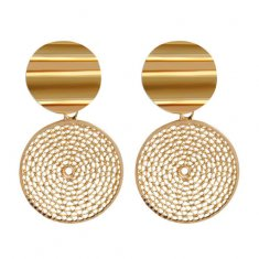 A-HY-E134 Curvy Double Golden Circles Honeycomb Design Earstuds