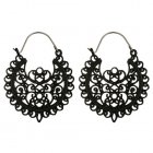 A-yG-5673black Black Curly Patterns Vinatge Hook Earrings