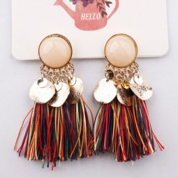 A-SD-EH0289colour Colourful Rainbow Round Bead Tassel Earstuds