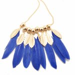 C09052685 Blue gold feather korean long necklace accessories