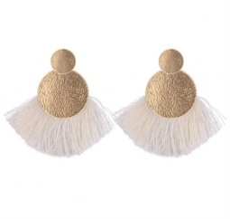 P132573 White Tassel Gold Round Elegant Stud Earrings Shop