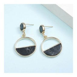 A-JT-45BLACK Black Semi Marble Circle Korean Trendy Earstuds