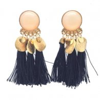 A-SD-Navy Navy Blue Bead Korean Inspired Tassel Earstuds Shop