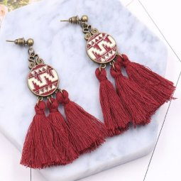 A-HH-HQET-022maroon Maroon Tassels Circle Abstract Earstuds Shop
