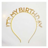 A-SH-010 It's My Birthday Glitter Gold Wording Hairband Accessor