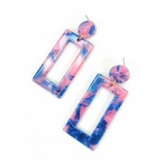 A-SD-XL0789 Blue Pink Resin Rectangle Mold Korean Earstuds