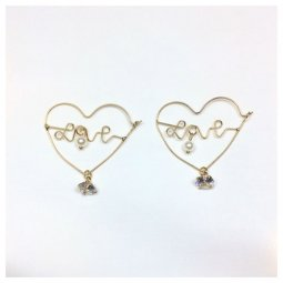 A-LG-ER(love) Golden Love Line Crystal Korean Hook Earrings