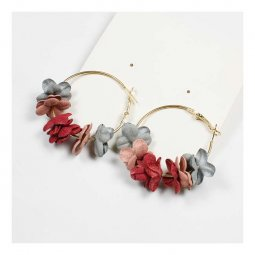 A-FX- E3107 Autumn Flowers Inspired Pink Grey Fashion Earrings