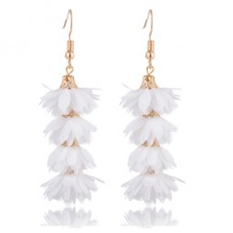 A-KJ-E020661 White Flowery Spring Dangling Tassel Hook Earrings