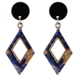 P132941 Korean Diamond Shaped Orange & Blue Marble Earstud