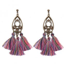 A-DW-HQE520clour Heart Crystals Colourful Tassel Earstuds