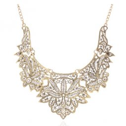 A-SJQ-XL003 Gold Flowery Elegant Choker Necklace Malaysia Shop
