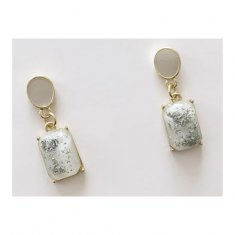 A-TT-1092G Light Green Gems With Glitter Trendy Fashion Earstuds