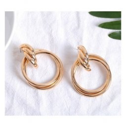 A-FX-E3466gold Trendy Korean Fashion Golden Rings Earstuds