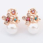 P114746 Pearl gold flower korean clip earstuds accessories