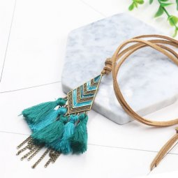 A-HH-HQNF-054 Turquoise Vintage Geometry Tassel Long Necklace