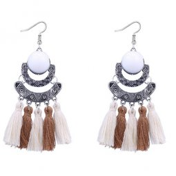 P127526 Brown White Antique Silver Bead Tassel Earrings
