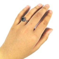 A-TT-E1251 Silver Black Diamond Square Beads Married Rings