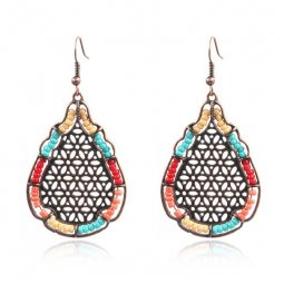 A-HH-HQEF1308 Colourful Beads Artsy Copper Teardrop Shape Earrin