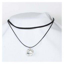 A-Tattoo-006 Black Choker Funky Geometry Silver Fashion Modern