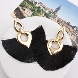 A-SD-XL0324black Black Huge Tassels Vogue Ovals Gold Earstuds
