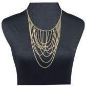 A-H2-X184 Gold dangling shiny crystals middle length necklace