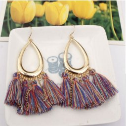 A-SD-XL111187colour Mix Colour Tassel Oval Loop Hook Earrings