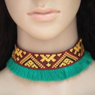 C0150742197 Green Tassel Bohemian Tattoo Choker Necklace