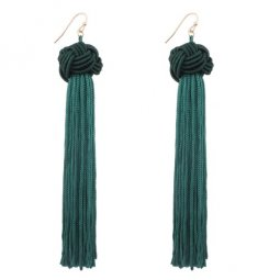 A-QD-E0371Gr Green Twisted Dangling Tassel Hook Earrings