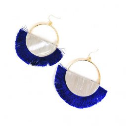 A-SD-ER0358blue Royal Blue Tassel Marble Semi Circle Hook Earrin