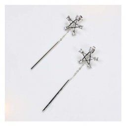 A-QK-0391star Star Shape Crystal Studded Dangling Pole Piece Ear