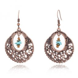 A-HH-HQEF-061vintage Vintage Antique Stone Hook Earrings