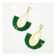 A-FX-E6687green Green Tassel Wooden Oval White Pearl Earrings
