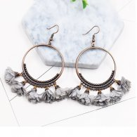 A-HH-HQES-017greyflower Grey Flower Korean Hoop Hook Earrings