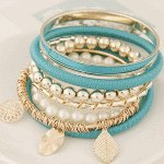 C015073059 Blue turquoise leave charm korean gold bangle