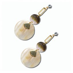 A-UK-105 Dangling Peachy Marble Circles & One Diamond Bead Earri