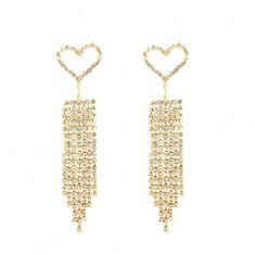 A-LG-ER0014(2) Crystal Hearts Dangling Korean Style Earstuds