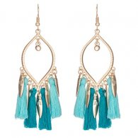 A-KJ-E020466 Turquoise Oval Dangling Leaves Hook Earrings