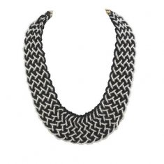 A-CJ-9598BLACKWHITE Black White Fashion Statement Necklace Shop